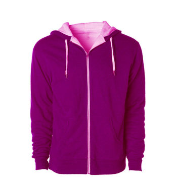 SCRIPT UNISEX ZIP UP HEATHER PINK